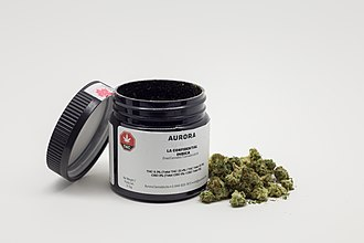 Cannabis in Canada - Example of a container and the recreational cannabis purchase in Canada.