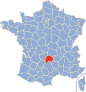 Communes of the Cantal department - Image: Cantal Position