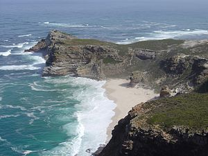 Cape of Good Hope - The Cape of Good Hope looking towards the west, from the coastal cliffs above Cape Point, overlooking Dias beach