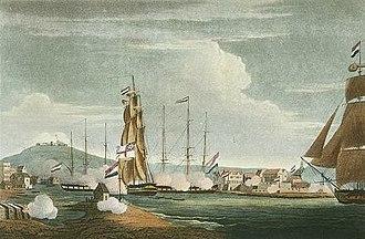 HMS Latona (1781) - The capture of Curaçao, depicted by Thomas Whitcombe