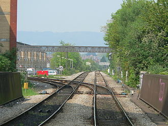 Junction (rail) - A double junction in Cardiff, Wales