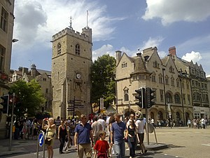 "St Scholastica Day riot - The Carfax Tower, dated from the 13th century, ""witnessed"" the described events. On the left is an edge of the building of Santander bank, built later."
