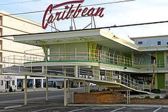 "Wildwood Crest, New Jersey - The Caribbean Motel, an architectural landmark of the ""Doo Wop"" era."