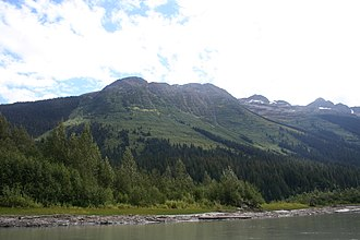 Bowron Lake Provincial Park - Ishpa Mountain side from Lanezi Lake