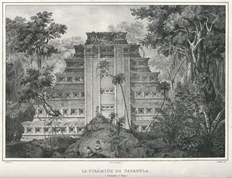 El Tajín - One of Carl Nebel's drawings of the Pyramid of the Niches