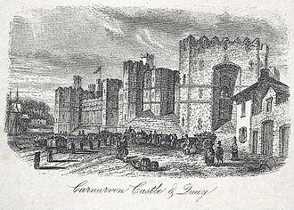 Nantlle Railway - Caernarfon slate quay with a loaded wagon and stacks of slates