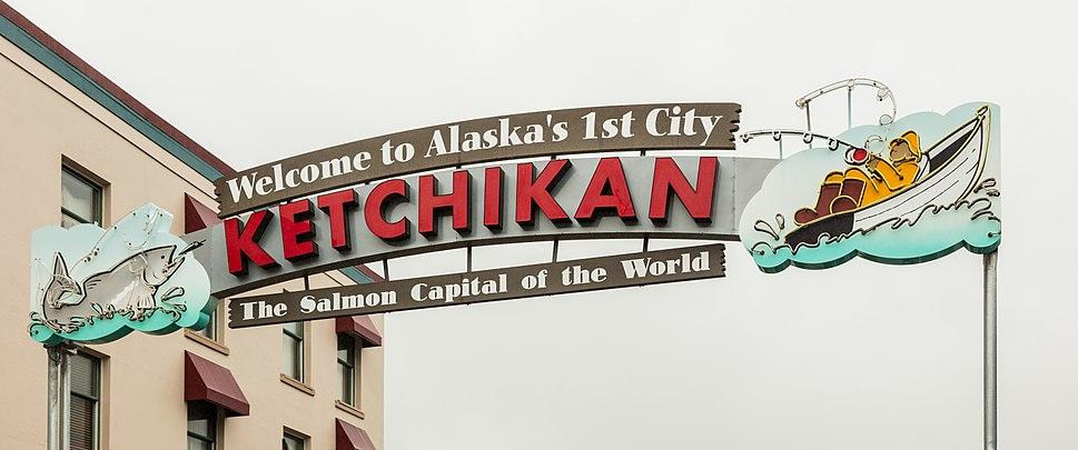 Cartel de bienvenida, Ketchikan, Alaska, Estados Unidos, 2017-08-16, DD 55