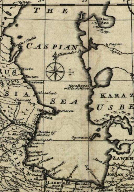 Caspian sea in Persian (IRAN) Empire 1747