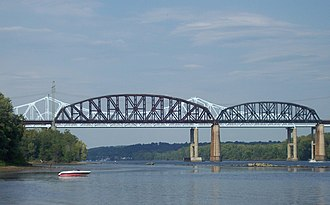 Alfred H. Smith Memorial Bridge - Foreground: Alfred H. Smith Bridge; Background: Castleton Bridge. Seen from the west shore, south of the bridges.