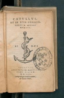 Marco Antonio Mureto, Catullus et in eum commentarius, Venetiis, apud Paulum Manutium, 1554