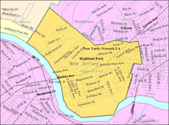Highland Park, New Jersey - Image: Census Bureau map of Highland Park, New Jersey
