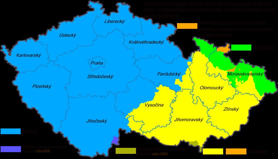 Ceska republika - Historicke zeme a soucasne kraje