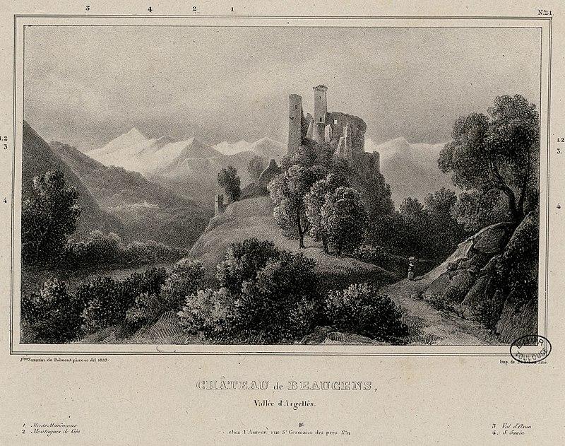 File:Château de Beaucens, vallée d' Argellès (i.e. Argelès) - Fonds Ancely - B315556101 A SARAZINDEBELMONT 019.jpg