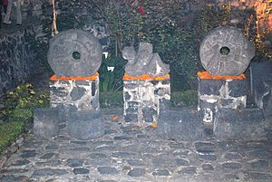 San Andrés Mixquic - Pre-Hispanic stone rings and Chac Mool at the ex monastery