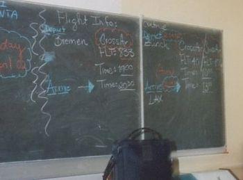 A chalkboard.