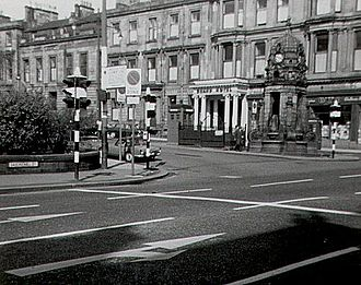 Charing Cross, Glasgow - Charing Cross, Glasgow in 1966, featuring the Cameron Memorial Fountain and the Grand Hotel, which was later demolished to make way for the M8 motorway.