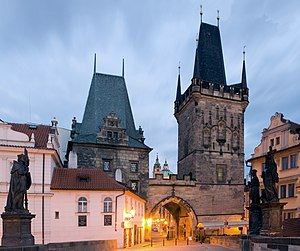 Prague - A view of one of the bridge towers of the Charles Bridge