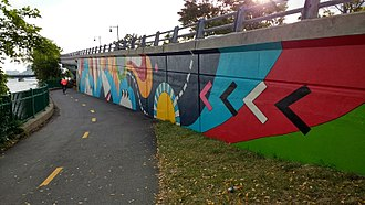 Charles River Bike Path - A mural by Silvia López Chavez along the Paul Dudley White bike path on the Charles River Esplanade.