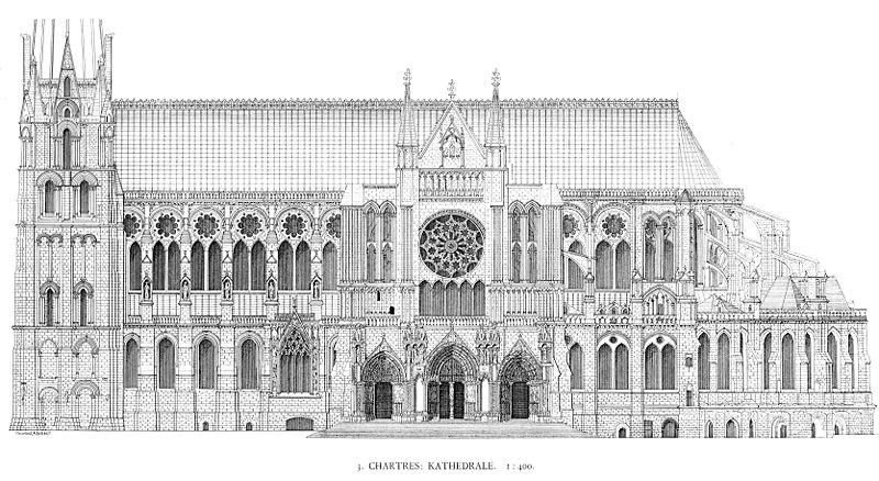 południowa elewacja katedry w Chartres