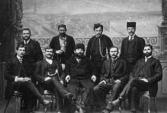Jovan Babunski - Chetnik leaders during legalisation in time of Young Turk Revolution in 1908. Babunski is seen standing, first from right.