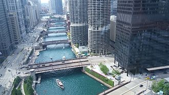 River North Gallery District, Near North Side, Chicago - The Chicago River from above