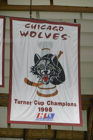 1997–98 IHL season - The banner honoring the Chicago Wolves 1998 Turner Cup Championship hanging in the Allstate Arena