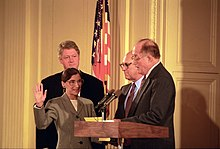 Ginsburg being sworn in and smiling