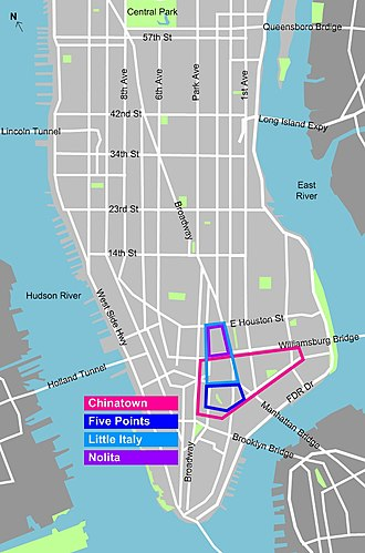 Five Points, Manhattan - 2007 map of the Five Points' former area, outlined in blue