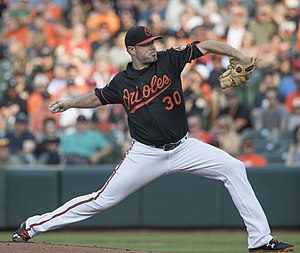Chris Tillman - Tillman pitching for the Orioles in 2017