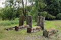 Church at Mashbury, Essex, England, churchyard tombs at south.JPG