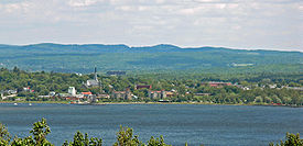 The skyline of the city of Magog.