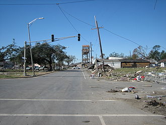 Claiborne Avenue - Claiborne Avenue, looking towards still closed bridge over the Industrial Canal after Hurricane Katrina