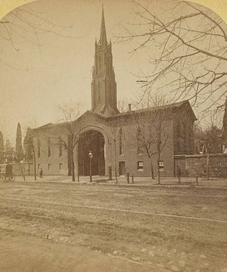 Monument Cemetery - Gothic gatehouse to Philadelphia's Monument Cemetery circa 1868. It was torn down in 1904 to extend Berks Street.