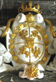 Coat of Arms of Stanisław August Poniatowski with colland of Order of White Eagle.PNG