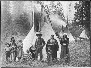 Coeur d'Alene people - Coeur d'Alene people and tipis, Desmet Reservation, c. 1907
