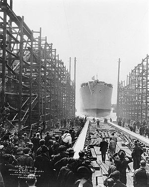 SS Empire Simba - West Cohas slides down the ways at her launching on 4 June 1918