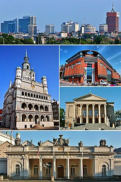 Top: Panorama of Poznań business district Middle: Poznań Town Hall, Stary Browar, Grand Theatre Bottom: Guardhouse