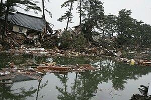 Higashimatsushima - Houses inundated and collapsed by the tsunami in Nobiru, Higashimatsushima