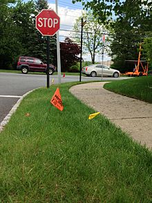 Utility Location Wikipedia Green paint and flags indicate sewer and drain lines. utility location wikipedia