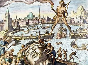 Colossus of Rhodes - The Colossus as imagined in a 16th-century engraving by Martin Heemskerck, part of his series of the Seven Wonders of the World.