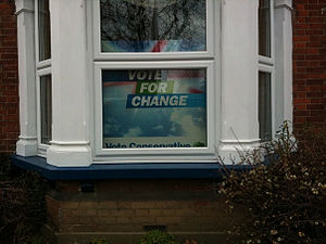 United Kingdom general election, 2010 - An election sign in a residential property.
