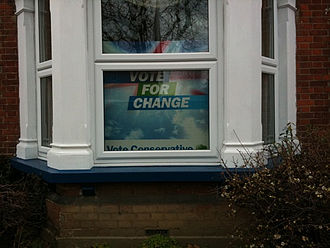2010 United Kingdom general election - An election sign in a residential property.