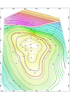 Directional drilling - Image: Contour map software screen snapshot of isopach map for 8500ft deep OIL reservoir with a Fault line