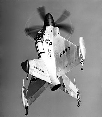 A Convair XFY Pogo showing its landing gear Convair XFY-1 Pogo 2.jpg