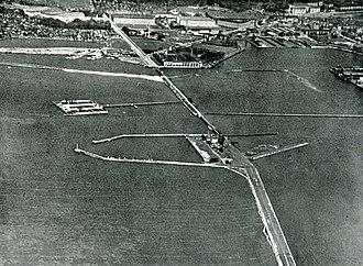 Slusen, Copenhagen - Aerial of Slusen, c. 1930