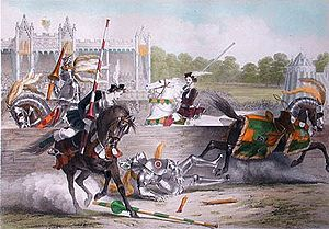 Historical reenactment - The joust between the Lord of the Tournament and the Knight of the Red Rose, a lithograph commemorating the Eglinton Tournament of 1839