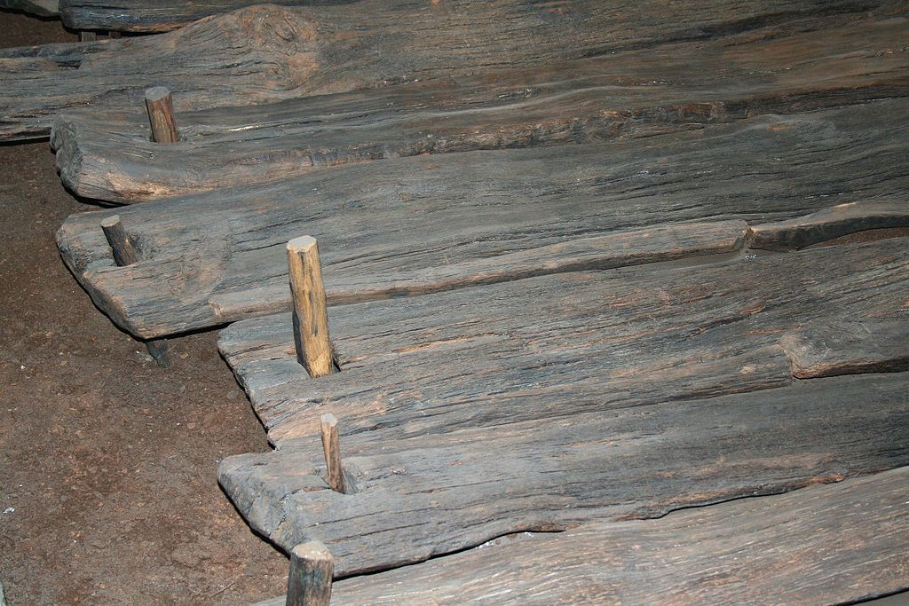 "Wooden planks and ""nails"" of the Corlea Trackway from Wikipedia"