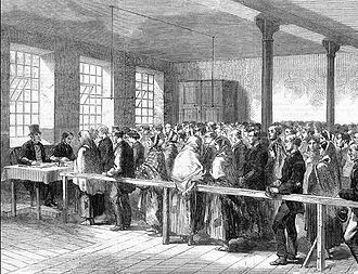 Lancashire Cotton Famine - An 1862 newspaper illustration showing people queueing for food and coal tickets at a district Provident Society office