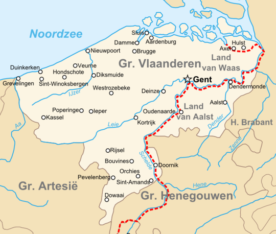 Topographic map of the county of Flanders at the end of the 14th century, the French-Imperial border marked in red County of Flanders (topogaphy).png