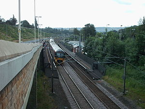 Airedale line - A train at Crossflatts station in 2006